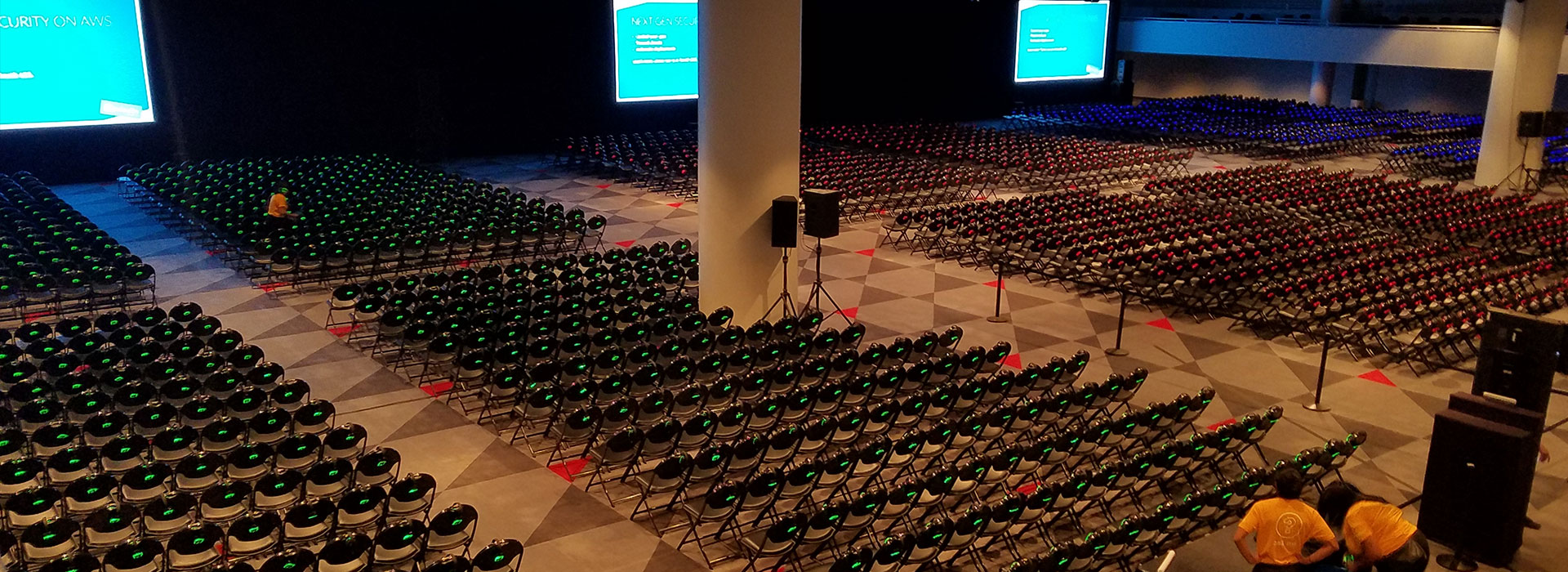 thousands of seats with headphones