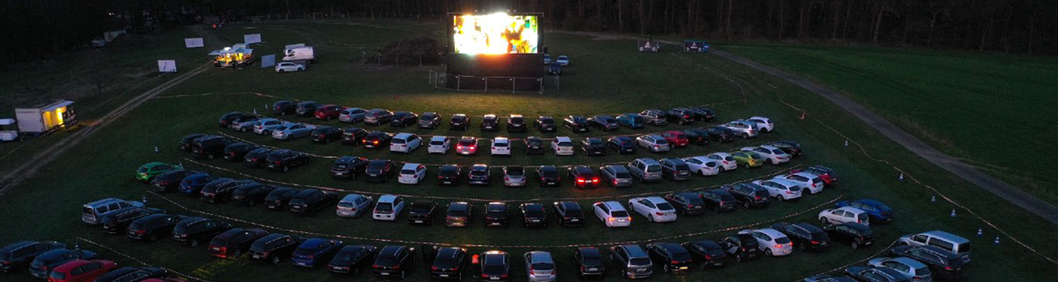 Drive in movie theater with cars